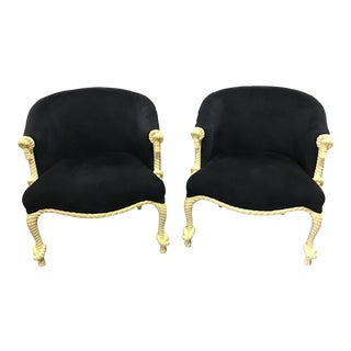 Vintage Napoleon III Style Rope and Tassel Tub Chairs - a Pair For Sale
