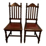 Image of 1920s Antique Gothic Barley Twist Renaissance Revival Chairs- a Pair For Sale
