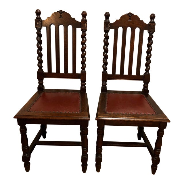 1920s Antique Gothic Barley Twist Renaissance Revival Chairs- a Pair For Sale