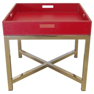Fabio Ltd Red Leather and Stainless Steel Tray Table For Sale