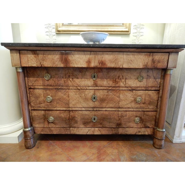 Early 19th C Walnut French Empire Commode For Sale - Image 12 of 12