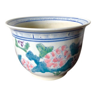 Vintage Chinese Hand-Painted Cachepot For Sale