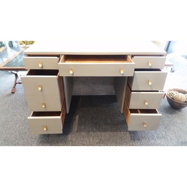Stunning Sligh-Lowry 8 drawer mid-century writing desk . Maple wood custom painted in mist gray chalk and sealed with...