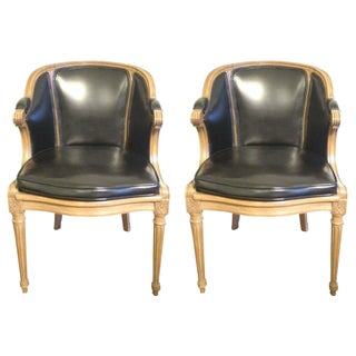 Wood And Leather Club Chairs - A Pair