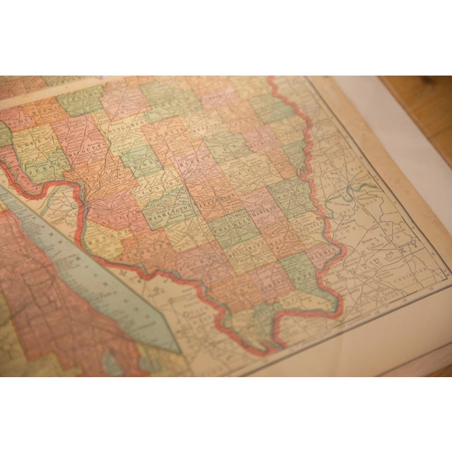 1900 - 1909 Cram's 1907 Map of Illinois For Sale - Image 5 of 6