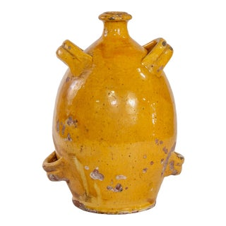 Early 20th Century French Mustard Glaze Pottery Jug For Sale