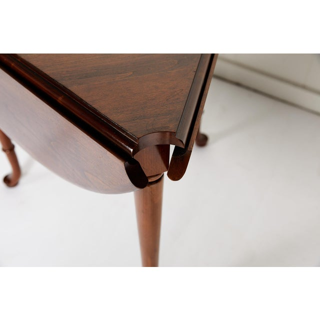 Pair of Vintage Statton Drop Leaf Tea Tables of Solid Cherry For Sale In Atlanta - Image 6 of 12