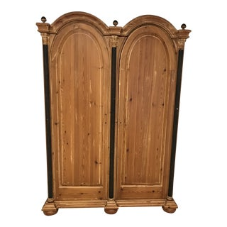1970s Modern Double Bonnet Washed Pine Armoire