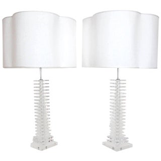 Tall Stacked Lucite Lamps with Raw Silk Shades