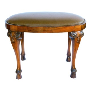 Italian Neoclassical Style Carved Walnut Oval-Form Stool For Sale