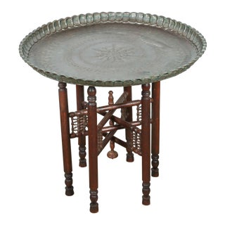 20th Century Persian Mameluke Tray Table on Wooden Folding Stand For Sale