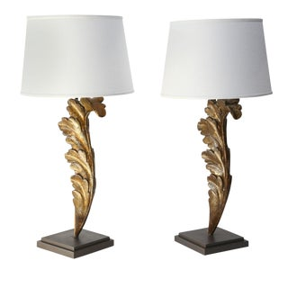 Pair of Carved Giltwood Table Lamps For Sale