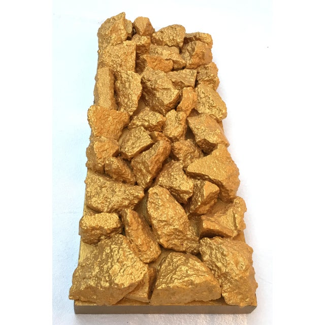"""Gilt Duplicidad"" Gold Concrete Rock Sculpture For Sale - Image 4 of 11"