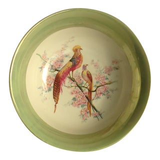 Vintage Tropical Bird Lustre Porcelain Serving Bowl For Sale
