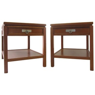 Blond Mahogany Side Tables or Nightstands - Pair