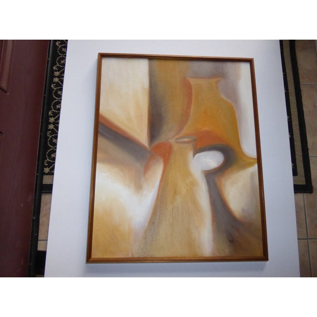 Warm Palette and Lyrically composed abstract still life , simply framed in complimentary gold tones, this is a stunning...