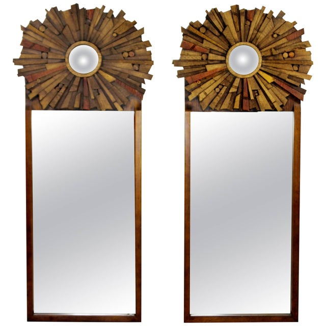 Mid-Century Modern Pair of Lane Brutalist Wood Mirrors for Mosaic Line Evans Era For Sale - Image 11 of 11