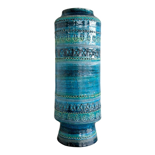 Aldo Londi for Bitossi Remini Blu Ceramic Vase For Sale