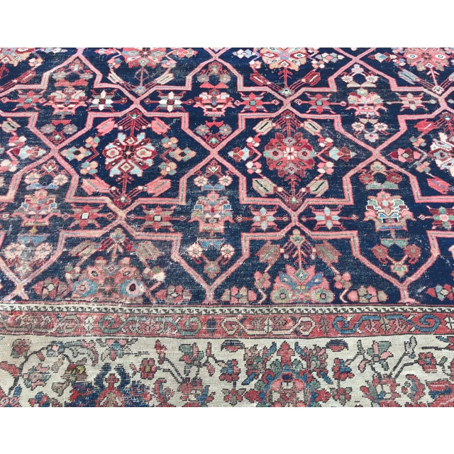 1900 - 1909 Vintage Design Decorative Blue Background Color Mahal Rug- 9′5″ × 13′5″ For Sale - Image 5 of 13