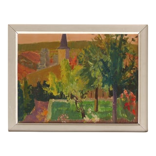 1959 French Countryside Landscape Oil Painting by Jean Claude Aujame For Sale