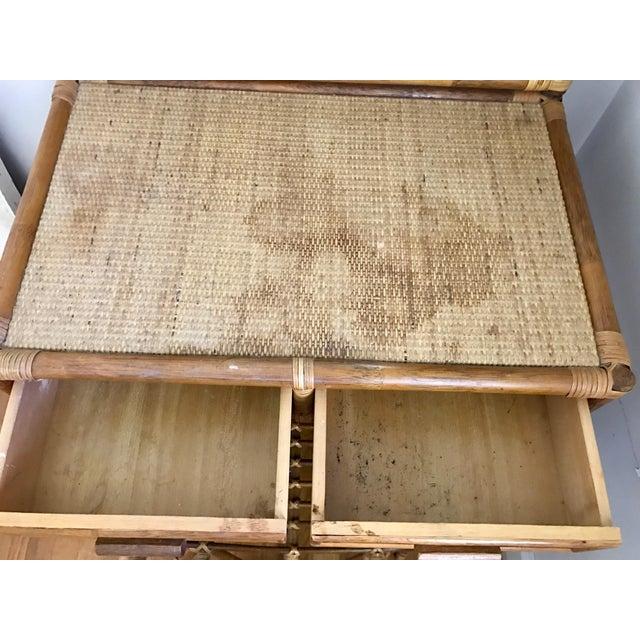 Vintage Bamboo & Rattan Two-Piece Vanity Set W/ Mirror & Stool - Image 6 of 8