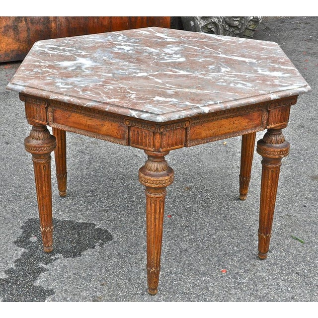 Late 19th Century 19th Century French Neoclassical Hexagonal Centre Table with Marble Top For Sale - Image 5 of 6