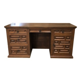 Vintage Spanish Solid Wood Desk For Sale