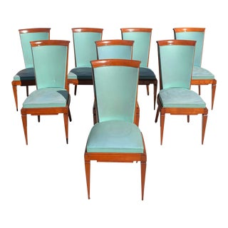 1940s Vintage French Art Deco Solid Mahogany Jules Leleu Dining Chairs - Set of 8 For Sale