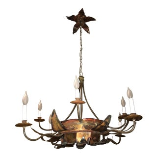 Brutalist Metal Flower Chandelier For Sale
