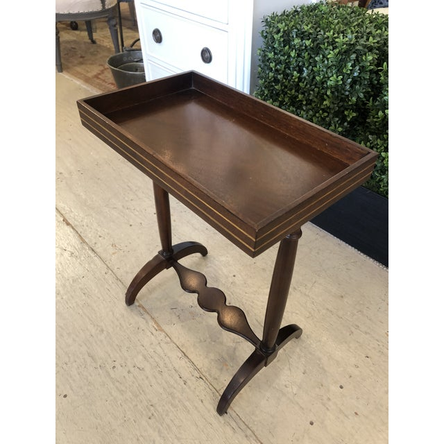 Traditional Mahogany Rectangular Small End Table With Banded Inlay For Sale - Image 3 of 11