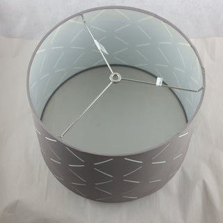 Fabric Drum Lamp Shade Gray With White Cutouts Preview