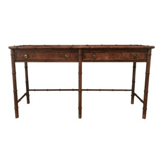 1960s Regency Hekman Furniture Bamboo Console Table For Sale