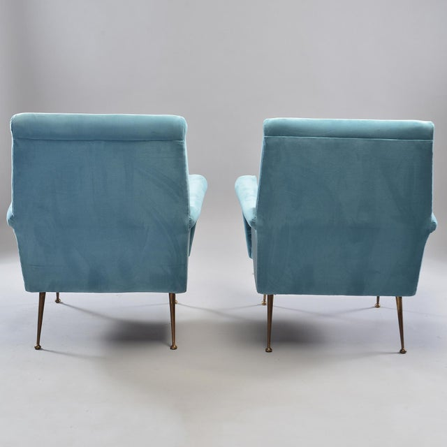 Mid-Century Italian Arm Chairs With New Sky Blue Upholstery - a Pair For Sale - Image 4 of 11