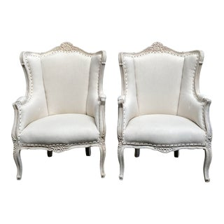 Vintage Pair of Painted French Style Wing Back Bergere Chairs For Sale