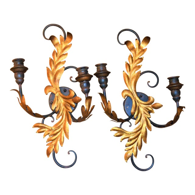Currey & Company Candelabra Iron Sconces - a Pair For Sale