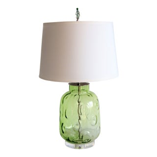 Retro Modern Green Blown Glass Lamp and Shade by C. Damien Fox For Sale