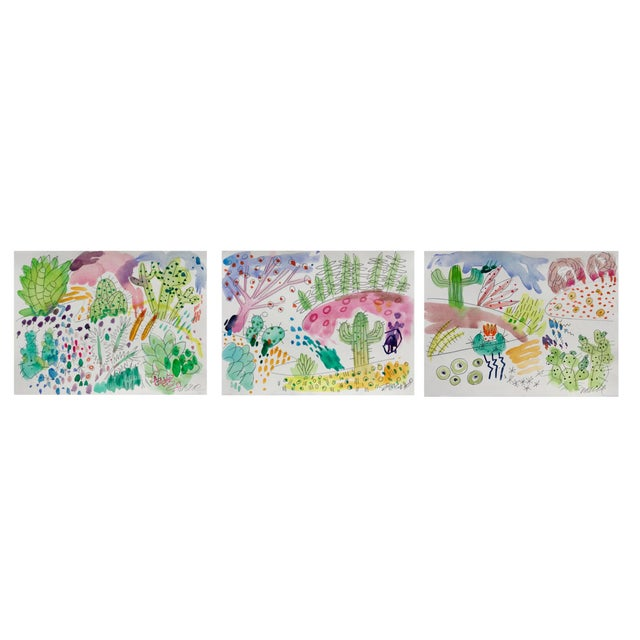 2010s Cactus Garden Set of Three Watercolor Paintings For Sale - Image 5 of 5