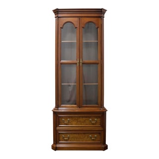 Mahogany With Burl Walnut Inlay Chippendale Curio Cabinet For Sale