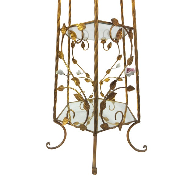 Italian Rococo Brass & Floral Étagère - Image 8 of 9