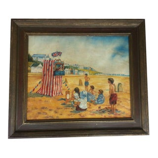 Vintage Punch And Judy Beach Scene Oil