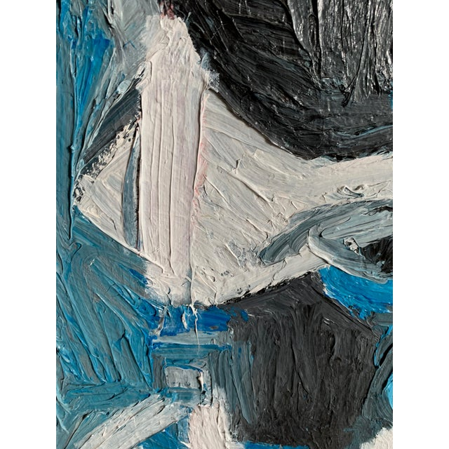 Vintage Mid Century Modern Abstract Head Portrait Oil Painting by Edelman For Sale - Image 9 of 11