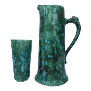 1957 Garland Ceramics Green & Blue Swirl Glazed Ceramic Ewer and Matching High Ball Set For Sale