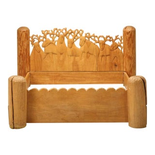 Seven Stags Hand-Carved Bed by Jerzy Kenar For Sale