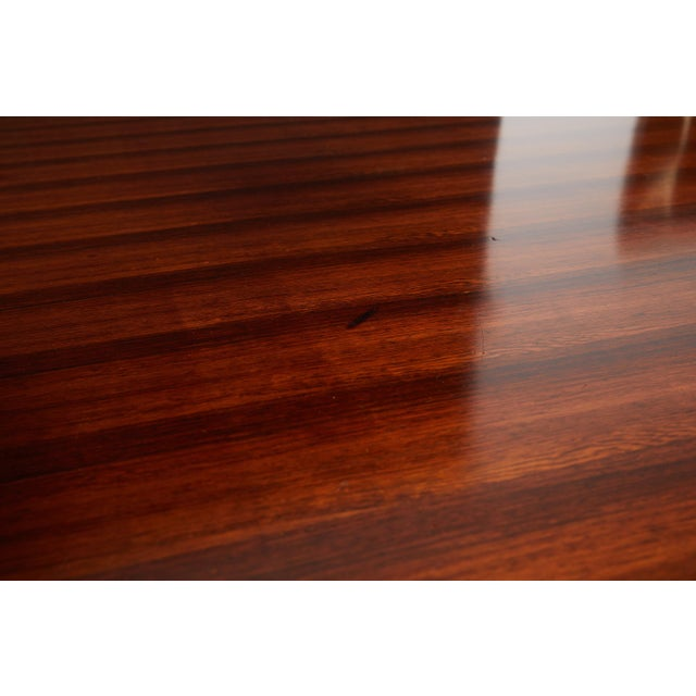 Brown Italian Round Pedestal Dining Table of Palisander Wood For Sale - Image 8 of 12