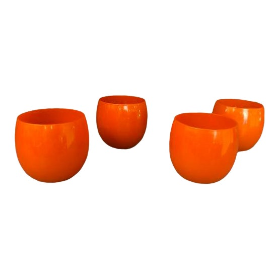 Mid-Century Hand Blown Orange Cocktail Glasses - Set of 4 For Sale