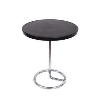 1930s Stablet French Minimalist Round Bakelite and Chromed Steel Table For Sale