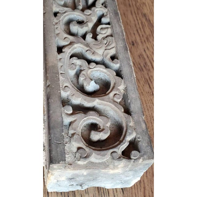 Gray Antique Asian Temple Architectural Relief Carved Stone Frieze Panel For Sale - Image 8 of 13