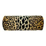 "Image of Leopard Print Velvet 9""x21"" Bolster Pillow For Sale"
