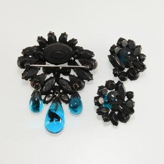 Regency Set Brooch Earrings Blue Rhinestones Dangles Preview