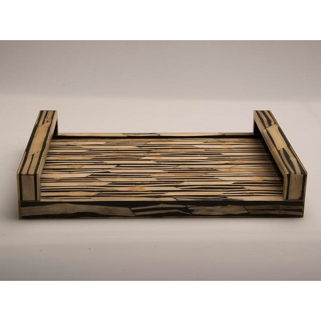 Modern Malaysian Modern Bamboo Inlaid Serving Tray with Handles For Sale - Image 3 of 7